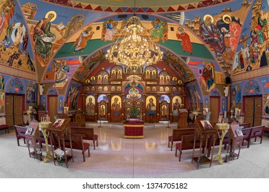 HOMER GLEN, ILLINOIS, USA - APRIL 18, 2019: Altar and sanctuary inside the colorful Annunciation Byzantine Catholic Church in Homer Glen