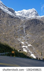 Homer Tunnel entrance on State Highway 94, the road to Milford Sound in New Zealand's Fjordland National Park. Opened in 1953.