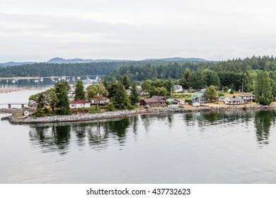 Homes along the coast of Canada near Nanaimo