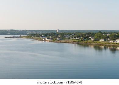 Homes along the Sydney River, Sydney, Cape Breton Island, Nova Scotia, Canada