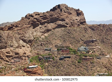 Homes built into the steep walls of Camelback Mountain in Phoenix, Arizona