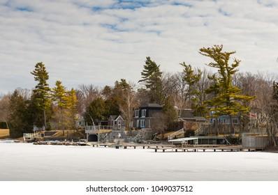 Homes on a frozen Lake Simcoe