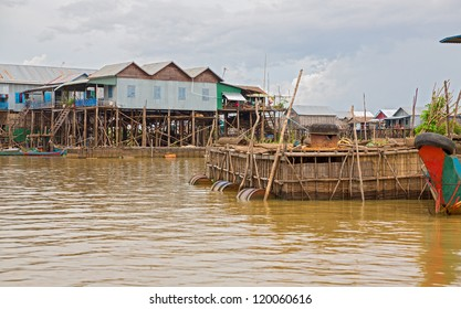 Homes on stilts and wooden cages on the floating village of Kampong Phluk, Tonle Sap lake,Siem Reap province, Cambodia