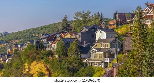 Homes in the sunset light Park City Utah pano