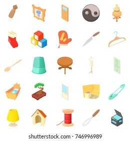 Homes things icons set. Cartoon set of 25 homes things  icons for web isolated on white background
