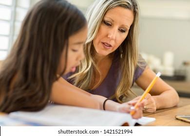 Homeschooling mother her teaching kids.