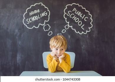 Homeschooling vs Public Schools - The boy sits at the table and chooses between home schooling and public school - be educated by teacher vs learn and study at home with parents