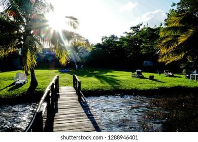 Homestay green area in Laguna Bacalar, Mexico.