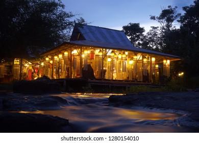 homestay near river night scene