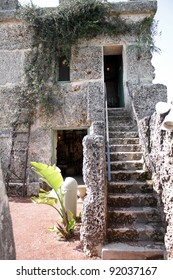 HOMESTEAD, FL - CIRCA APRIL 2010: Stairs to the living quarters inside the mysterious Coral Castle circa April, 2010 in Homestead, FL.  The builder took his secrets with him to the grave.