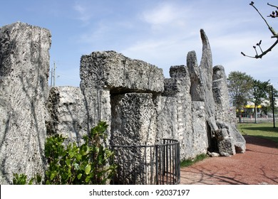 HOMESTEAD, FL - CIRCA APRIL 2010: The revolving door to the mysterious Coral Castle circa April, 2010 in Homestead, FL.  The builder took his secrets with him to the grave.