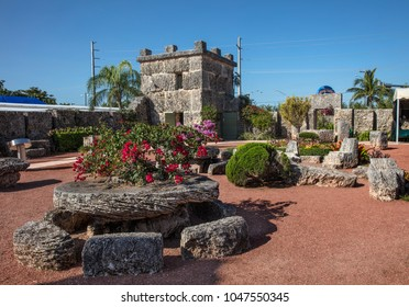 Homestead, FL - March 01, 2018: A view of the Coral Castle in Homestead, Florida. The site was built from limestone by Edward Leedskalnin in 1930s for his sweetheart Agnes.