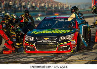 Homestead, FL - Nov 20, 2016: Clint Bowyer brings the #15 5 Hour Energy Chevy into the pits for maintenance  during the Ford EcoBoost 400 weekend at the Homestead-Miami Speedway in Homestead, FL.