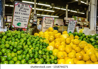 Homestead, FL / USA - 02-14-2015: Key Lime display at Robert Is Here, the popular South Dade farm stand that is equal parts tourist attraction and the gateway to agricultural Miami-Dade.