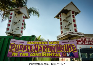 Homestead, FL / USA - 02-14-2015: Southern Most Purple Martin House in the Continental USA at the popular  Robert Is Here farm stand in South Florida.