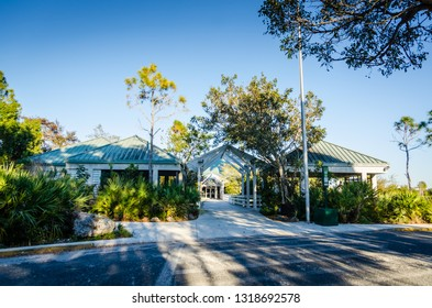 Homestead, FL / USA - 02-15-2014: The Ernest F. Coe Visitor Center offers educational displays, orientation films, and informational brochures.