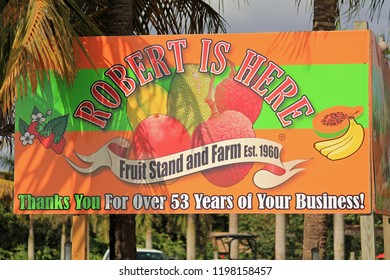 "HOMESTEAD, FLA/USA - JAN 14, 2013: ""Robert is Here"" fruit stand announces arrival at Everglades National Park since 1960.  Its reputation for fresh fruits is exceeded only by fame for Milk Shakes."