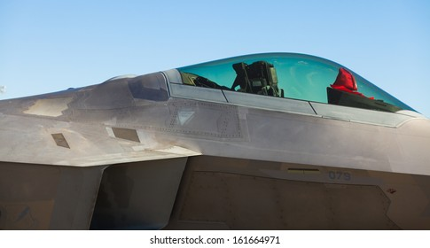 HOMESTEAD, FLORIDA NOVEMBER 3: Close up view of the American military Lockheed Martin F-22 Raptor stealth fighter jet on display at the Wings over Homestead Airshow on November 3, 2012 in Homestead.