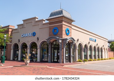Homestead, Pennsylvania, USA 7/10/20 A branch office of Chase bank in the Waterfront shopping complex on a sunny summer day