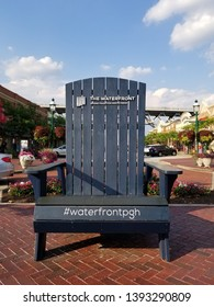 Homestead, Pennsylvania / USA - July 10, 2019: A photo opportunity down at The Waterfront in Homestead, PA