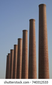 Homestead Stacks, preserved smokestacks from an otherwise abandoned steel mill near Pittsburgh, Pennsylvania, USA