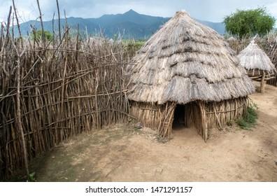 Homesteads in rural east Uganda, Karamoja