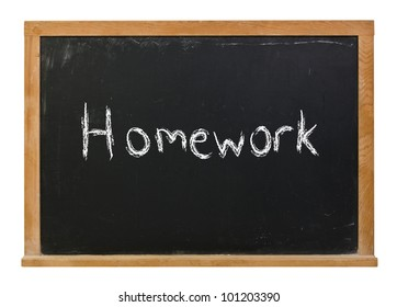 Homework written in white chalk on a black chalkboard