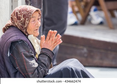 Homless old woman
