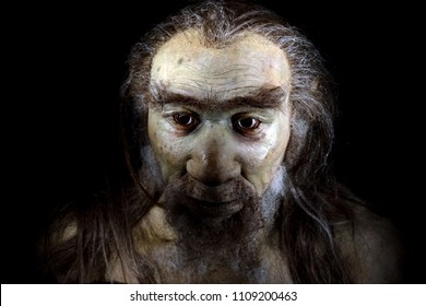homo sapiens man face isolated on black