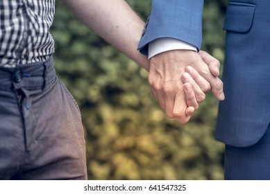 a  homosexual couples are holding hands at the first date in the park. They are falling in love.A gay couples is very happy and put hand in hand all time.