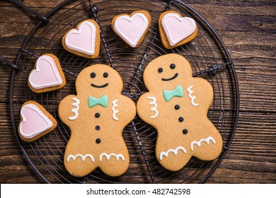 Homosexual gay couple made of Christmas cookies, festive love concept