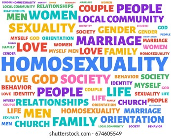 - HOMOSEXUALITY - image with words associated with the topic HOMOSEXUALITY, word, image, illustration