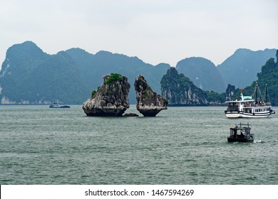 Hon Ga Choi Island (Fighting Cocks Island), or Trong Mai Island (Cock and Hen Island), Halong Bay, Vietnam. UNESCO World Heritage Site, famous destination of Vietnam