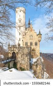Honau, Baden-Wurttemberg, Germany - February 21, 2010: Inside the gates of beautiful winterly Lichtenstein Castle, Swabian Alb, Baden-Wurttemberg, Germany.