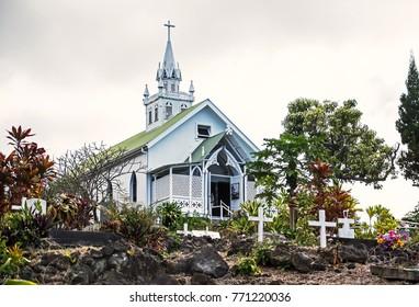 HONAUNAU, HAWAII/USA - FEBRUARY 25, 2017: St Benedict's Catholic Church (also known as The Painted Church)
