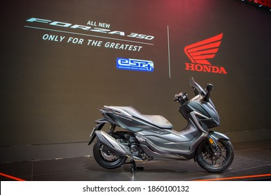 Honda All New Forza 350 Motorcycles on display at THE 41st BANGKOK INTERNATIONAL MOTOR SHOW 2020 on July 14, 2020 in Nonthaburi, Thailand.