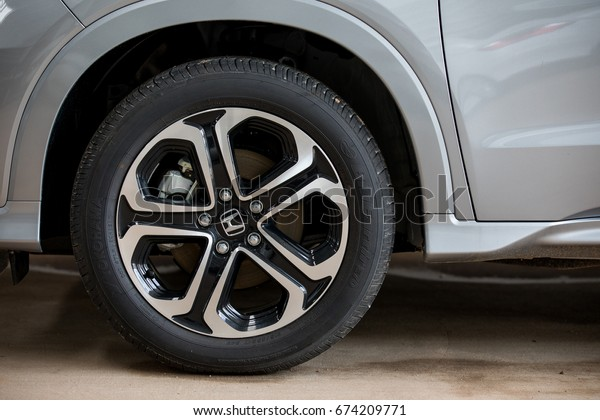 Honda HRV alloy wheel texture close up Loei, Thailand  -  July 5, 2017