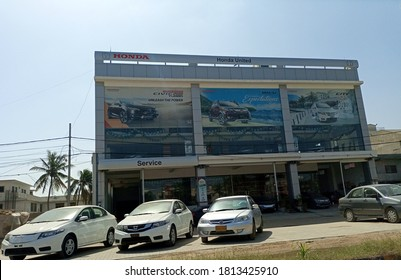 Honda United Dealership in north nazimabad. The cars are parked outside on road  - Karachi Pakistan - Sep 2020