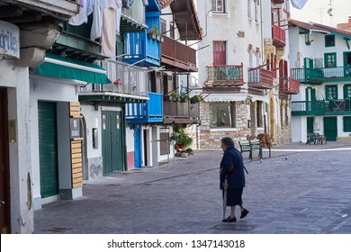Hondarribia, Basque Country, Spain; 18-18-2019 streets of the beautiful Basque town, with its typical colorful architecture