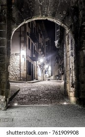 HONDARRIBIA, BASQUE COUNTRY, SPAIN NOVEMBER 14 2017Entance arch of Calle Mayor in Fuenterrabia, a traditional fishing medieval town in spain on the border with france