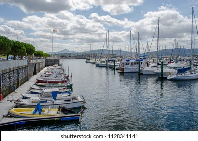 Hondarribia, Guipuzcoa, Spain, August 2013: Yachts mooring in marina of Hondarribia coastal town in Basque Country, Spain