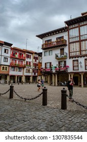 Hondarribia, Guipuzcoa, Spain, August 2013: Old houses in the center of Hondarribia, a town in Gipuzkoa, Basque Country, Spain, near the French border
