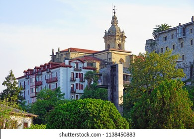 HONDARRIBIA, SPAIN -8 JUL 2018- View of the landmark historic Fort of Guadalupe fortress in Hondarribia, along the border between France and Spain in the Basque country.