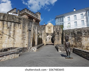 Hondarribia, Spain - April 2018: Historical castle style stone made ancient entrance to the centre of the town