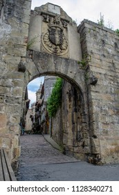 Hondarribia, Guipúzcoa, Spain, August 2013: Historical castle style stone made ancient entrance to the centre of the town of Hondarribia