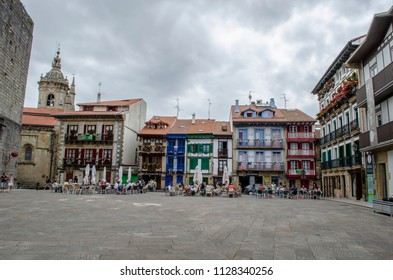 Hondarribia, Guipúzcoa, Spain, August 2013: Houses at the Plaza Arma in the Port Area in Hondarribia, a town in Gipuzkoa, Basque Country, Spain