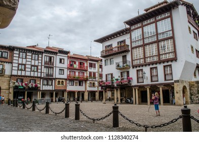Hondarribia, Guipúzcoa, Spain, August 2013: Old houses in the center of Hondarribia, a town in Gipuzkoa, Basque Country, Spain, near the French border.