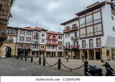 Hondarribia, Guipúzcoa, Spain, August 2013: Old houses in the center of Hondarribia, a town in Gipuzkoa, Basque Country,