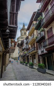 Hondarribia, Guipúzcoa, Spain, August 2013: one of the streets of the historical center of the town of Hondarribia a town in Gipuzkoa, Basque Country, Spain