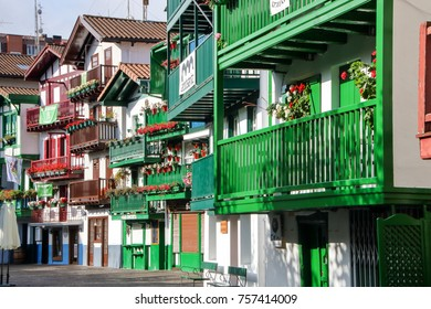 AT HONDARRIBIA, SPAIN - ON  08/27/2017-  colorful houses at Hondarribia, Spain